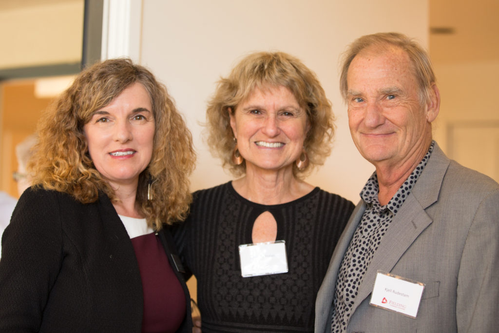 President Katrina Rogers with faculty members Janice and Kjell Rudestam